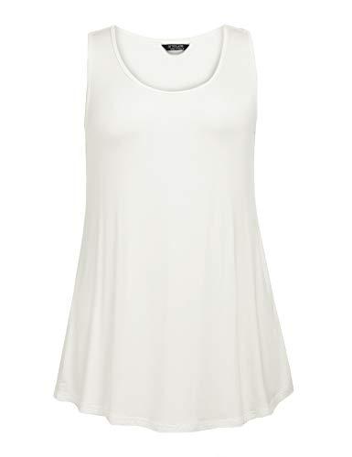 685671fc18 IN'VOLAND Women's Plus Size Sleeveless Basic Halter Neck Camisole Tank Top  White