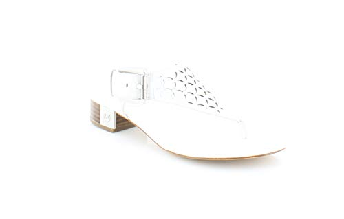 Leather Kors Michael Thongs (MICHAEL Michael Kors Womens London Thong Leather Open Toe, Optic White, Size 6.5)