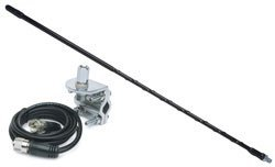Solarcon 212B Black 2' Fiberglass 750W Top Loaded CB Antenna with Mirror Mount and Cable