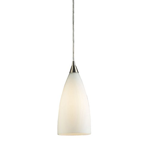 (Alumbrada Collection Vesta 1 Light Pendant In Satin Nickel And White Glass)