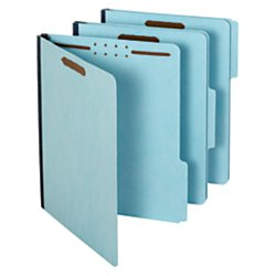 Pendaflex Pressboard Fastener Folders, Letter Size, Light Blue, 1