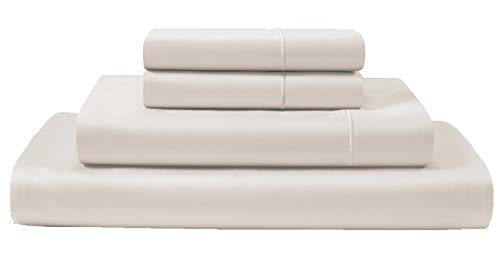 Chateau Home Collection 800 Thread Count 100 Egyptian Cotton Sheets Pillowcases Set Deep Pocket Best Bed Sheets Soft Silky Sateen Weave Long Staple Combed Cotton Sheet Set King Ivory