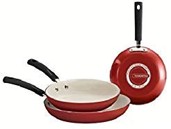 Tramontina 80151/585DS Ceramic-Reinforced Nonstick Fry Pan Set, 3 Piece, Red, Made in USA (Tramontina Steel Stainless Cookware)
