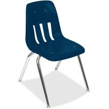 Virco Stacking Chair - Virco 901851 9000 Series Classroom Chair, 18-Inch Seat Height, Navy/Chrome, 4/Carton