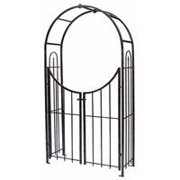 Panacea Products Arched Top Garden Arbor with Gate, Brushed Bronze - Arbor With Gate