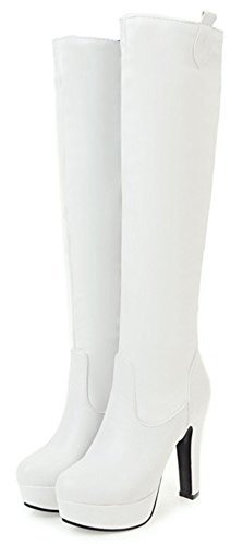 High High Platform Toe Heel Women's Trendy White on Pull Aisun Knee Boots Pointed Chunky w1yXFq1aP