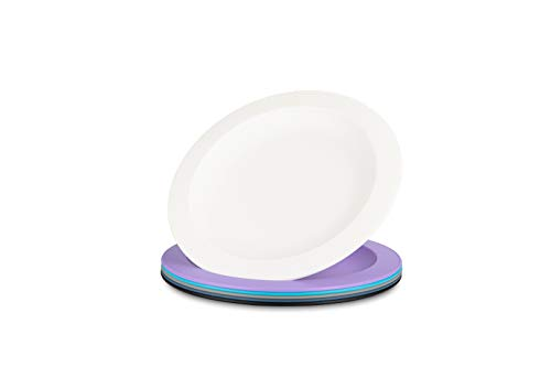 Amuse- Unbreakable and Reusable Plastic Plate Set- BPA Free- Set of 6-9.65 in. (Assorted Colors -