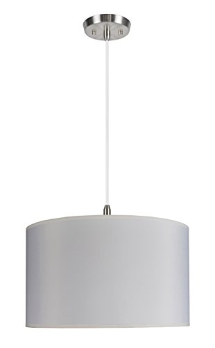 Aspen Creative 71007 2-Light Hanging Pendant Ceiling Light with Transitional Hardback Drum Fabric Lamp Shade, Off White, 17