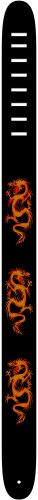 Perri's Leathers 2.5 Inch Leather Guitar Strap W/Screen Print And Air Brush-Ancient Dragon