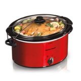 Hamilton Beach 33155 040094331550 5 Quart Portable Oval Slow Cooker, Red