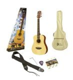 Luna Safari Series Travel Pack with Acoustic Guitar, Gig Bag, Strap, Pitch Pipe, and Pick