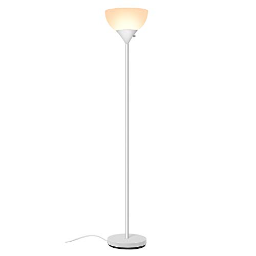 SUNLLIPE Floor Lamp 70 inches Plastic Shade Modern Sturdy Standing Lamp Light 9W Energy Saving LED Torchiere Floor Lamp for Living Room, Dorm and Bedroom ()