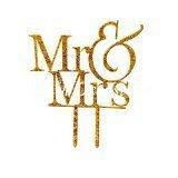 Gold Mr & Mrs Wedding Acrylic Cake Topper