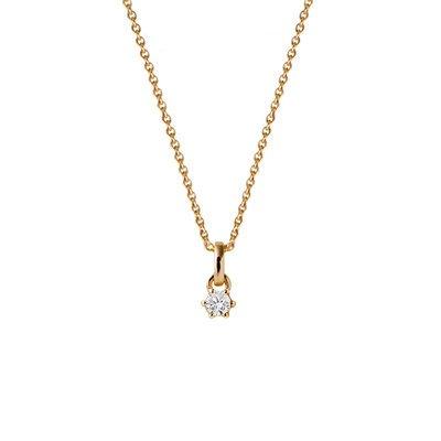 Chaîne-Or jaune 585-Pendentif-Diamant