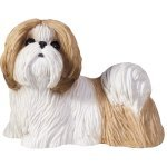 Sandicast Small Size Gold and White Shih Tzu Sculpture, Standing for $<!--$10.95-->