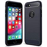iPhone 5 / 5s / Se Shockproof Silicone Light Brushed Grip Case Protective Case Cover for Apple Navy Blue + Screen Protector iPhone (Navy Blue)