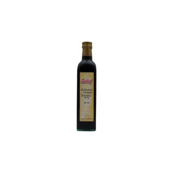 Sadaf Balsamic Vinegar, 0.5 L 1 Italian Balsamic Vinegar of Modena Ingredients: Wine vinegar,Concentrated Grape must, Dye E150D,Contains Sulfites. NO SALT OR SUGAR ADDED / CONTAINS SULFITES / ACIDITY 6%