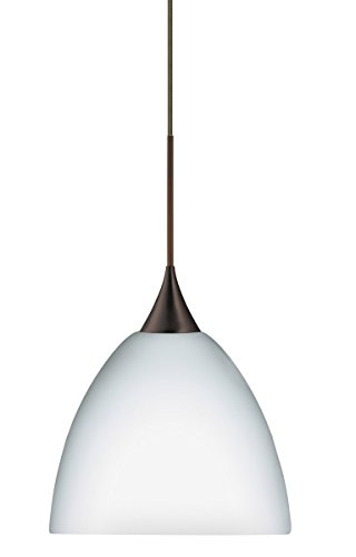 (Besa Lighting 1XT-757007-BR 1X50W Gy6.35 Sasha Pendant with Opal Matte Glass, Bronze Finish)