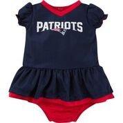 NFL New England Children Girls Dazzle Dress & Panty Set, 6-12 Months, Patriots