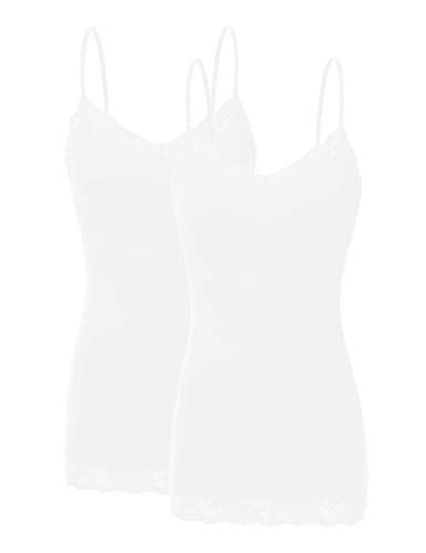 Bozzolo XT1004L Pack Ladies Adjustable Spaghetti Strap Lace Trim Cami Tank Top 2Pack-White XL
