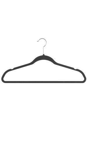 """Black Velvet Hanger, 18"""" Black Velvet Finish Hanger • Sold in Cases of 50 • Great for Use with Pants, Collared Shirts, Blouses • Silver Metal Finish Swivel Hook , 18"""
