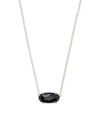 Black Glass Necklace - Kendra Scott Ever Silver Pendant Necklace in Black Opaque Glass