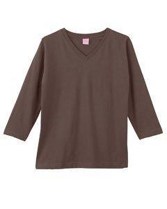 LAT Apparel Ladies 3/4 Sleeve Jersey Tee [Large] Brown V-Neck Tee