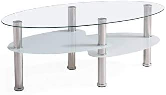 Deal of the week: Hodedah Three Tier Oval Tempered Glass Coffee Table