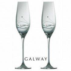 Irish Galway Crystal Chic Champagne Flutes With Swarovski Crystal