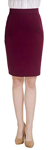 Marycrafts Women's Work Office Business Pencil Skirt M Burgundy
