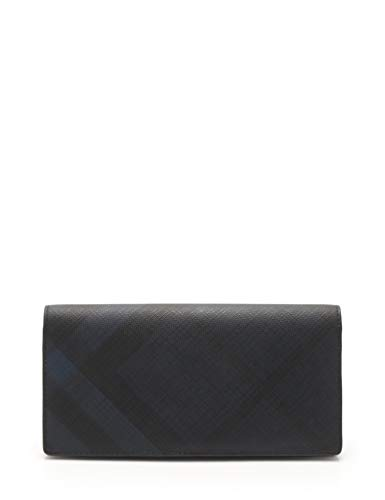 (バーバリー) BURBERRY コンチネンタルウォレット 二つ折り長財布 ロンドンチェック PVC レザー ネイビー 黒 中古   B07NSYBX98