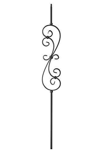 """Iron Balusters -""""S"""" Scroll - Hollow - 44"""" Tall - 1/2"""" Square - Box of 5 (Satin Black)"""