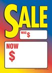 """D30SAL Sale Was Now Multi Color Unstrung Drill Sale Tags (No Strings) Small Price Cards - 3 1/2"""" x 5"""" (100 Pack) Furniture, Flooring, Business Store Signs"""