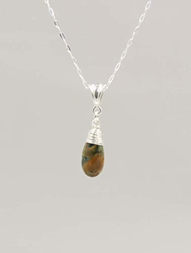 - Rhyolite Gemstone Necklace with Sterling Silver Chain - 18