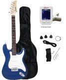 Crescent EG-BUM 39'' Electric Guitar Starter Package - Blue Metallic Color (Includes Bonus CrescentTM Digital E-Tuner)