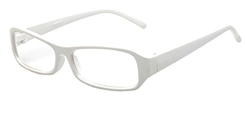 FancyG® Vintage Inspired Classic Rectangle Glasses Frame Eyewear Clear Lens - White White Reading Glasses