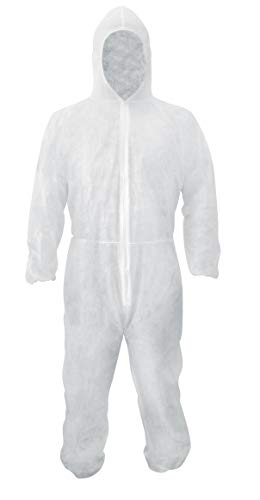(White PP 30g Coverall with Hood, Elastic Cuffs, Ankles, Waist. X-Large Chemical Protective Coveralls. Unisex Disposable Workwear for Cleaning, Painting, Manufacturing. Lightweight, Breathable.)