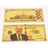 POPOUGE Promise of Quality Donald Trump 1000 Dollars Bill Banknote, 24k Gold Coated Commemorative Banknote, Great Gift for Coin / Currency Collectors, 2 PCS