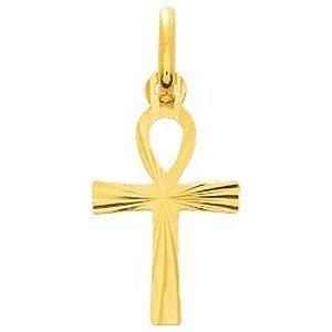 So Chic Bijoux © Pendentif Ankh Croix de Vie Amulette Egyptienne Facettes Effet Diamanté Or Jaune 750/000 (18 carats)