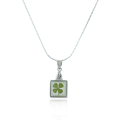Lucky Shamrock Pendant - Stainless Steel Real Four (4) Leaf Clover Good Luck Shamrock Square Pendant Necklace, 16-18 inches