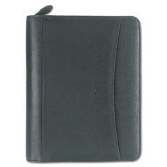 Nappa Leather Ring Bound Organizer w/Zipper, 5-1/2 x 8-1/2, Black
