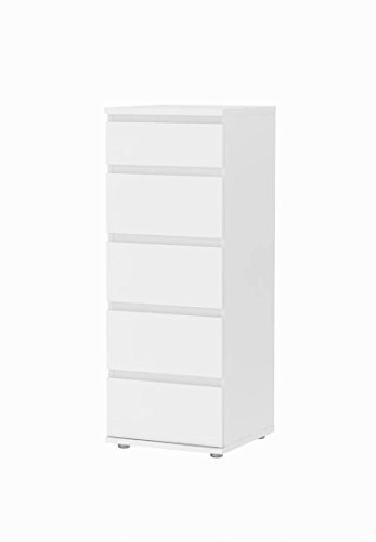 Tvilum 7109649 Aurora 5 Drawer Narrow Chest, White