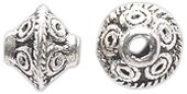Shipwreck Beads Zinc Alloy Spacer Bead Bicone with Spiral Design, 6mm, Silver, 100-Pack ME5409-S