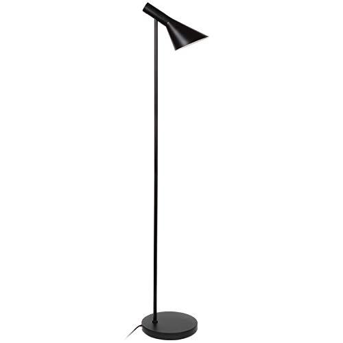 Brightech Levi LED Focused Floor Lamp - Contemporary Mid Century Modern LED Standing Light with Metal Shade for Bedroom Living Room Office Tasks - Black