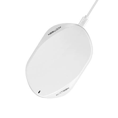 Acctisen Fast Wireless Charger, Qi Certified Ultra-Safe Wireless Charger Pad, Compatible 7.5W iPhone Xs Max/XR/XS/8/8 Plus, 10W Fast-Charging Samsung Galaxy S9/S9+/S8/S8+/S7/S7 Edge More (White)