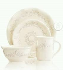 Espana Dinnerware, Antica Whisper White 4 Pc Place Setting