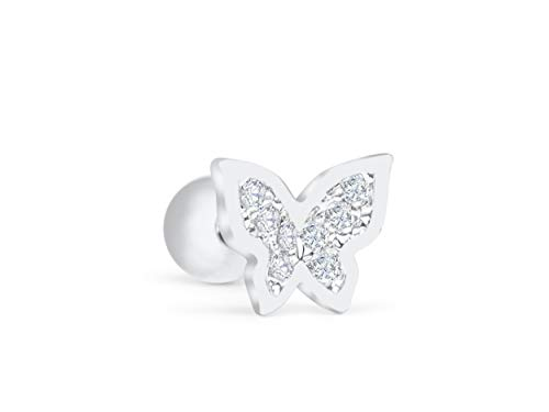 Rhodium Butterfly Earrings - ONDAISY Rhodium Plated Simulated Diamond Cz Animal Butterfly Ear Stud Earring Piercing