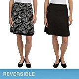 Skirt Reversible Spandex (Tranquility by Colorado Clothing Ladies Reversible Skirt - Casual, Dressy, Knee Length, Wrinkle Resistant - Choose Colors and Sizes (Small, Black/ Pattern))