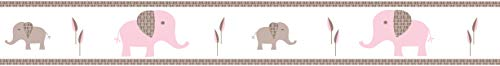 Sweet Jojo Designs Pink and Taupe Mod Elephant Children and Kids Modern Wall Border