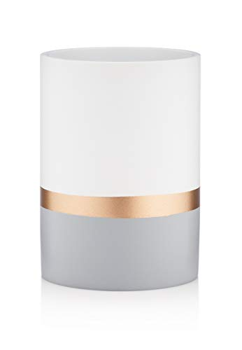 Essentra Home Day and Night Collection White and Grey with Gold Stripe Bathroom Tumbler Cup for Vanity Countertops Also Great As Makeup Brush Holder and Pencil Pen Holder ()